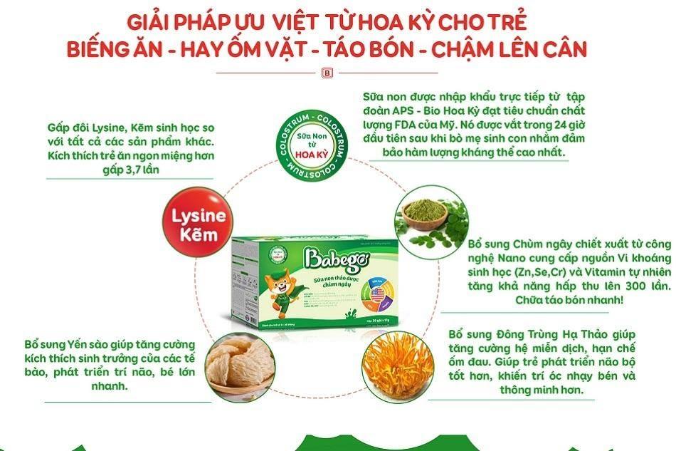 Thành phần trong sữa non thảo dược Babego