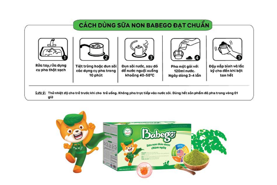 Hướng dẫn pha sữa Babego tăng cân hiệu quả