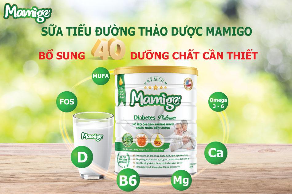 Sữa tiểu đường Mamigo chứa 40 chất dinh dưỡng cần thiết